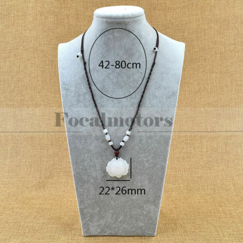 Natural White Jade Lotus Necklace Womens Pendant Lucky Charm Jewelry Gift UK