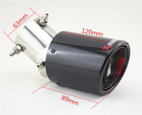 Glossy Carbon Fiber Car Modified Exhaust Pipe Tail Muffler Tip 63-89mm Universal