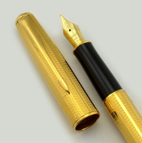 Parker Sonnet Cascade oro oro oro Fine Pt Penna Stilografica in Scatola 23k Placcato oro b7f8f7