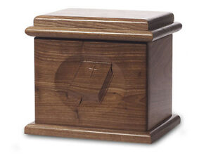 Wood-Cremation-Urn-Deluxe-model-with-a-Black-Walnut-Finish-woth-a-Bible-image