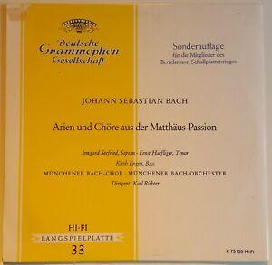 """Bach Arien und Chöre aus der Matthäus-Passion Seefried Haefliger Richter DGG 10"""""""