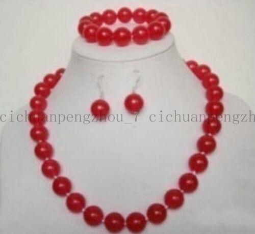 """BELLE 10 mm NATURAL RED RUBY Bijoux Collier Bracelet Boucles d/'oreilles Set 18/"""""""