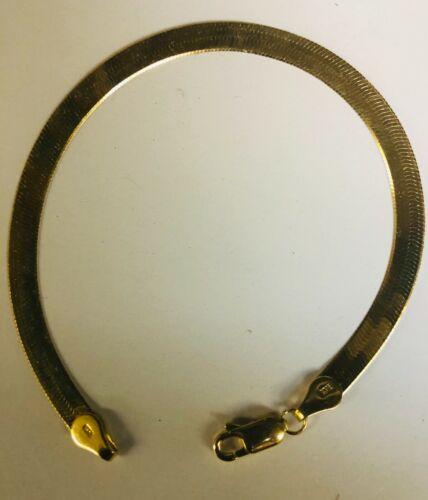 14kt Or Jaune 5 mm flexible Herringbone 7 in Chaîne Bracelet 3 G environ 17.78 cm