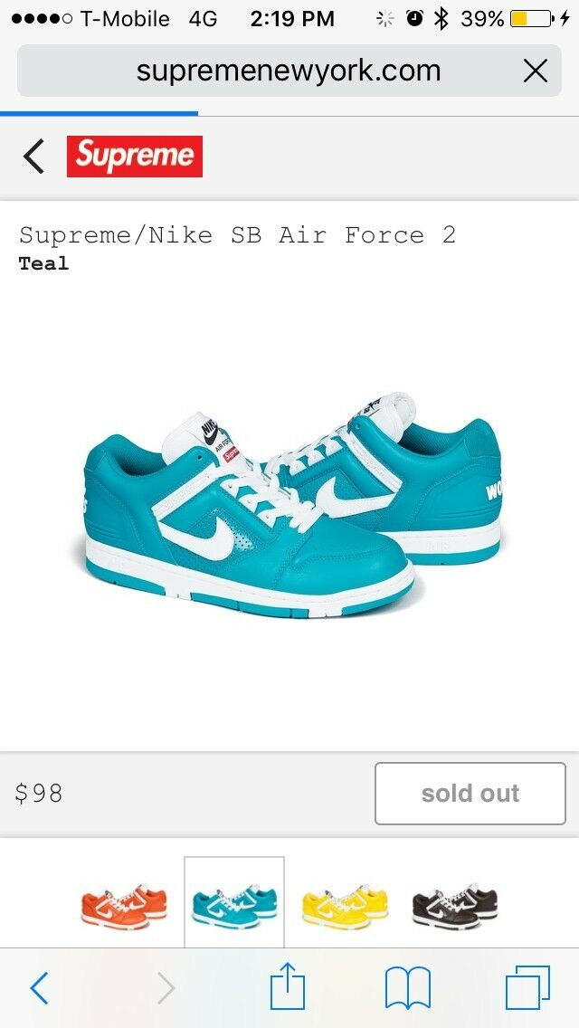 Supreme Nike Air Force 2 Teal Comfortable Brand discount