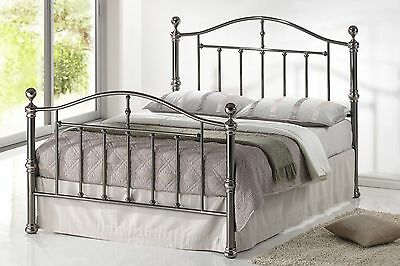 Brand New Victoria Double 4FT6// 5FT Black Nickel metal bed frame Curved Design