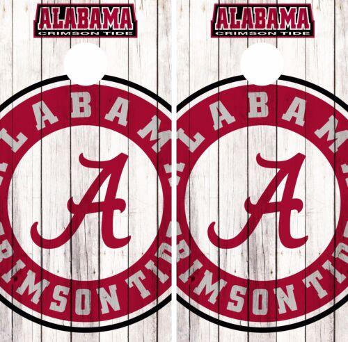 Alabama Crimson Tide Cornhole Skin Wrap NCAA Basketball Custom Art Vinyl DR270