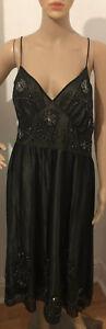 OLI Femme Robe de soirée dos nu à bretelles perles paillettes UK Taille 16 pour femme Noir Bnwt
