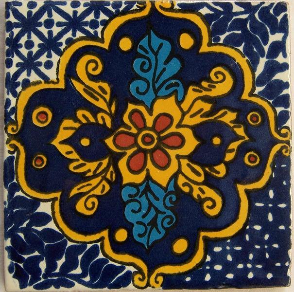 C216- Mexican Handmade Talavera Clay Tile Folk Art 4x4