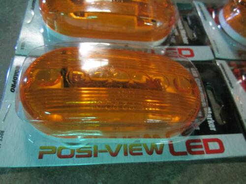"LOT OF 4 Roadpro 4/"" x 2/"" Amber LED Posi-View Marker Lights Truck Trailer Cat Eye"