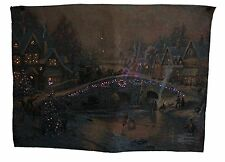 Victorian Christmas Fiber Optic Tapestry Wall Hanging ~ Thomas Kinkade No pole