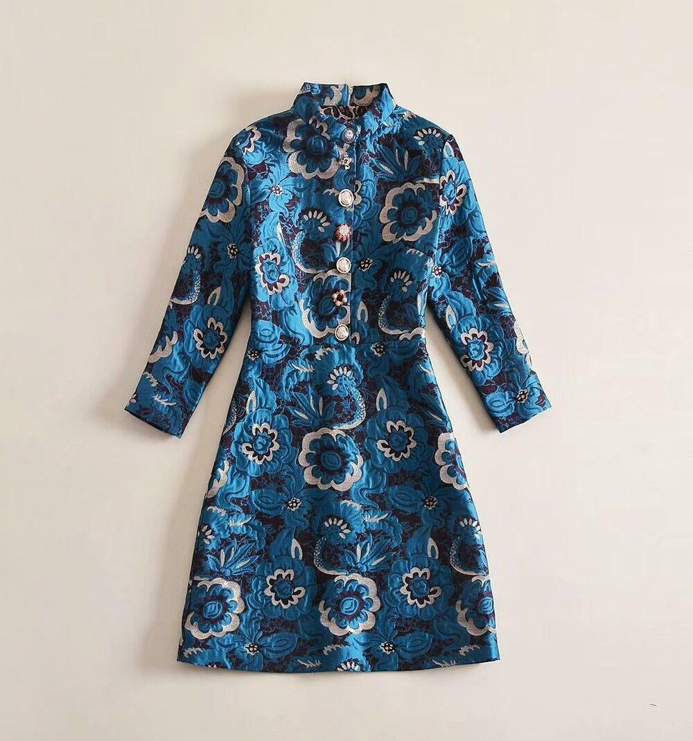 Women's Stand Collar Buttons Slim Fit Modern Vintage Long Sleeve Party Dress