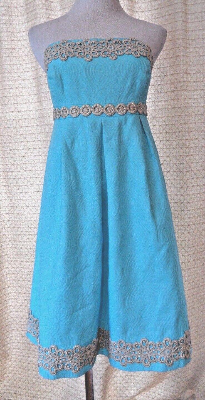 NWT LILLY PULITZER Sz 4 Aqua Blau Strapless Party Dress Metallic Brocade Trim