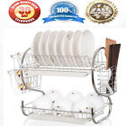 Kitchen organization holder 2 Tier Stainless Steel Dish Drainer Drying Rack USEO