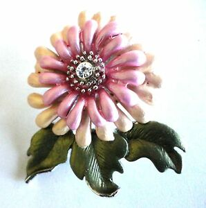 Flower-Brooch-Lapel-Pin-Enamel-Pink-Silver-Plated-Clear-Crystal-Free-Shipping
