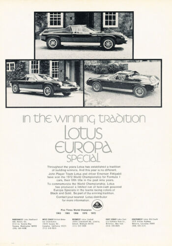 1973 Lotus Europa Special Classic Vintage Advertisement Ad D184 Tradition