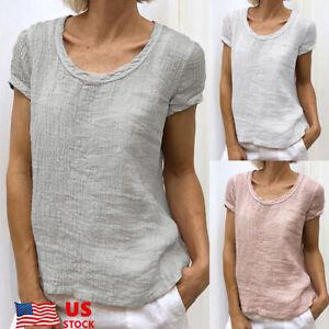 Women-Lady-Cotton-Linen-Baggy-Tops-Loose-Short-Sleeve-T-Shirt-Blouse-Tops-Casual