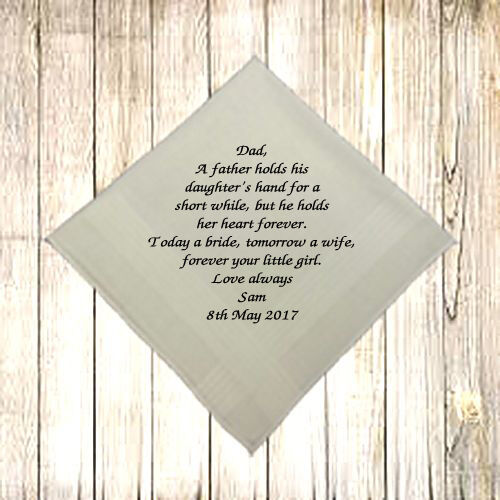 NEW PERSONALISED MEN HANDKERCHIEF HANKIE WEDDING GIFT DAD HEART FOREVER BRIDE