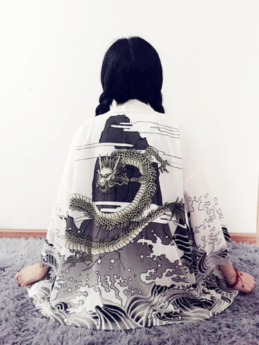 Japanese Harajuku Vintage Sweet Lolita Kimono Loose Print Bathrobe Jacket .