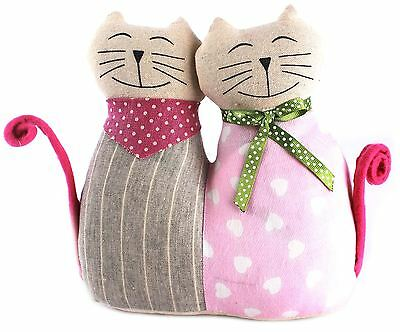 Pair Of Fabric Cats Doorstop ~ Cat Doorstop