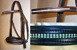 FSS-German-2x-Row-TINY-Crystal-COMFORT-Dressage-Bridle-WITH-SWAROVSKI-ELEMENTS