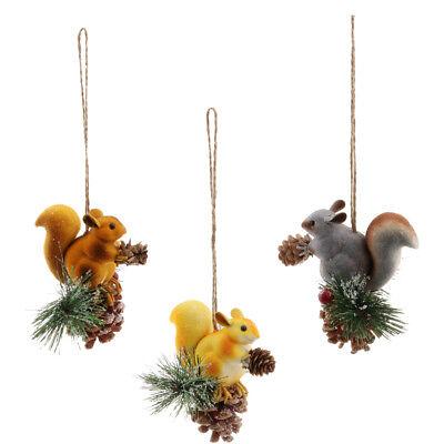 3pcs eichhörnchen mit nuss weihnachtsdeko baumschmuck