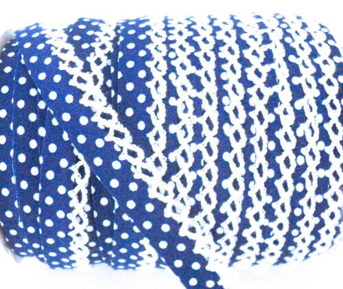 Königlich Baumwolle Stoff Borte Pikot Spitzen Rand Punkt Schrägband