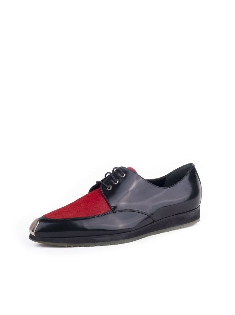 GIORGIO ARMANI Calf Hair and Patent Lace Up Loafer  850