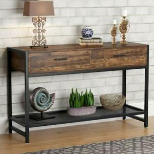 Tribesigns-Console-Table-with-2-Drawers-Rustic-Entry-Table-TV-Stand-for-Home