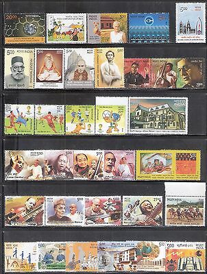 Stamps India 2014 Complete full year pack 33v MNH musicians football crystal