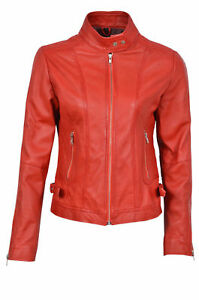 Ladies Real Design Italian Biker Leather Nappa Luxury Jacket Style Red n1UxTwTqS