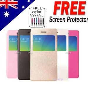 low priced dadf3 2c284 Details about Smart S VIEW Flip Leather Case Cover For Oppo R9S | R9S Plus  + Screen Protector