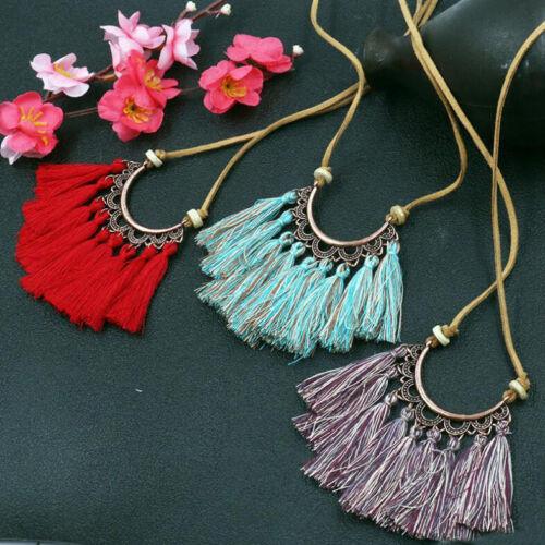 Women Bohemian Long Tassel Thread Pendant Necklace Alloy Sweater Chain Jewelry