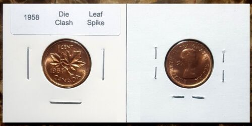 Canada 1958 Small Cent *Leaf Spike* BU Red UNC Penny!!