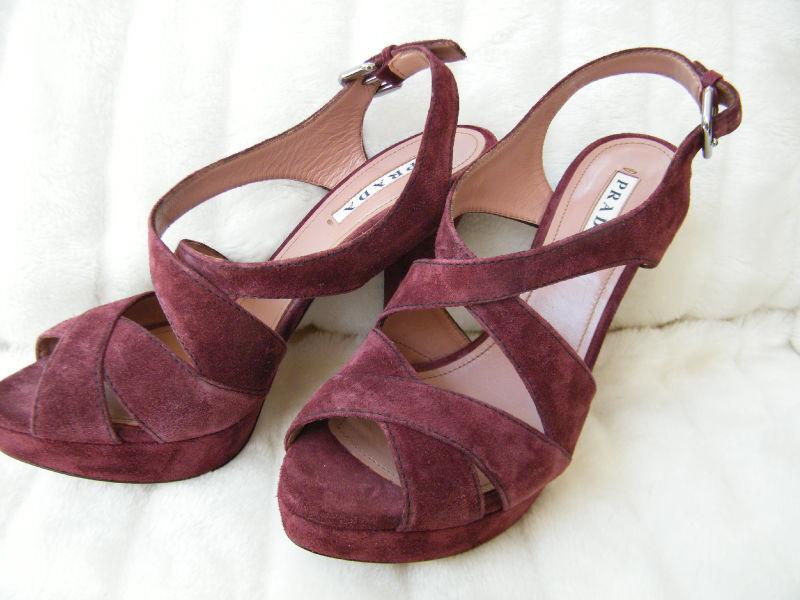 Prada Zapatos Sandalias Tacones Plataforma 39.5 39.5 39.5 9.5 ante morado  Felices compras