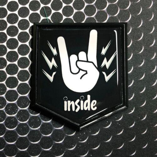 "HEAVY METAL INSIDE Decal Car Domed BLACK Emblem decal Sticker 2x 2.25/"" Rock"