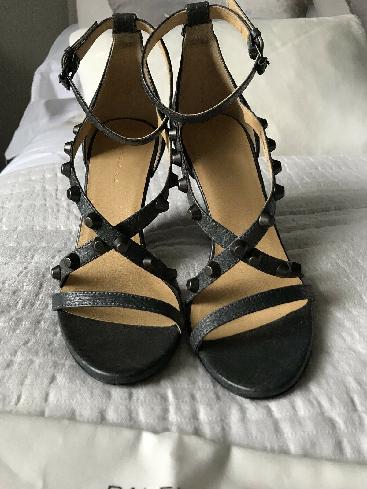 Balenciaga leather gris cloutées sandals with wedge UK 39 excellent condition