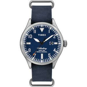 3fd285bf5ba4 Timex The Waterbury Men s Blue Leather Stainless Steel Indiglo Watch ...