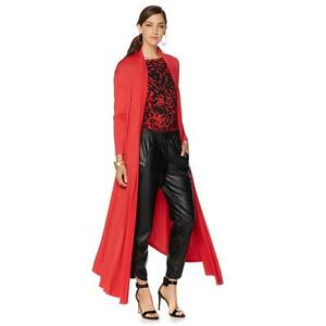 NENE by NeNe Leakes Long Sleeve Lightweight Glam Maxi Cardigan Red ...
