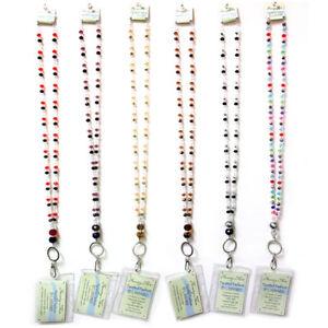 ID-Badge-Card-Holder-Beaded-Breakaway-Lanyard-Neck-Strap-Key-Girls-School-Nurse