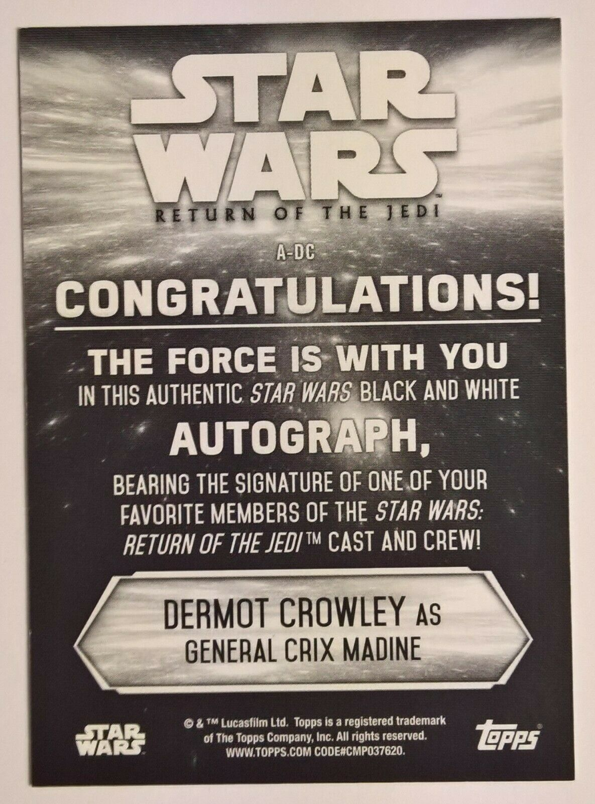 STAR WARS personally signed 12x8 DERMOT CROWLEY as GENERAL MADINE