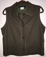 Harve Benard Petite Stitch Hem Brown Lined Vest Wool Viscose 12p $79