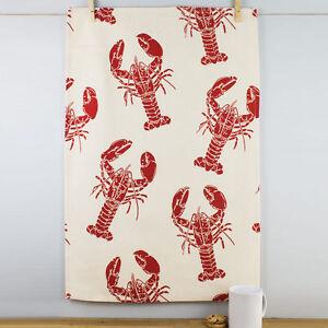 Nouveau-ulster-weavers-block-print-red-lobster-motif-coton-naturel-the-serviette