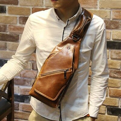 Men's Pu Leather Backpack Chest Bag shoulder Messenger Bag