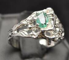 .57 CT NATURAL GREEN EMERALD .925 STERLING SILVER MERMAID MENS RING SIZE 12
