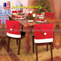 6pcs Xmas Red Santa Clause Hat Cap Chair Back Covers Sets Dinner Party Decor Hot