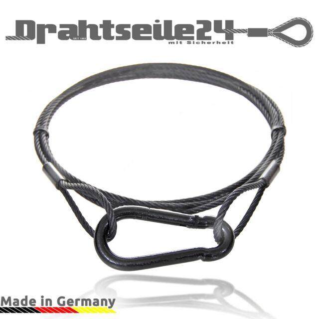 Seil Sicherungsseil Stahlseil mit Haken Karabinerhaken SCHWARZ und Ösen Schlaufe