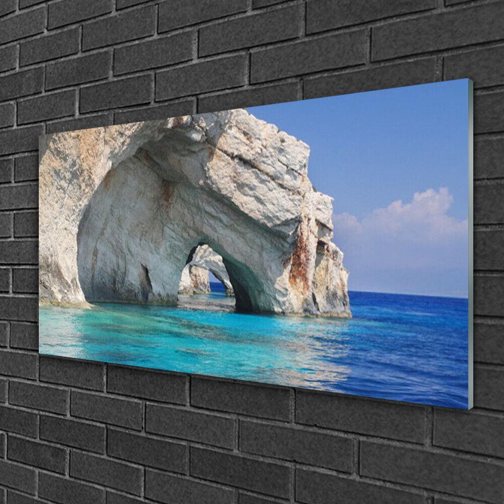 Tableau sur Plexiglas® Image Impression 100x50 Paysage Falaise Mer Eau