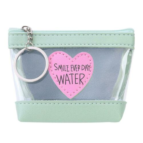 Leather Short Clutch Women Money Coin Purse Clear Heart Decor PVC Wallet H1