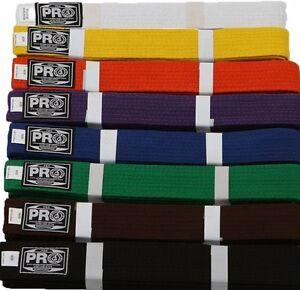 Martial Arts Belts Karate Taekwondo Judo   All colors.  NEW. Pro Boxing Supplies