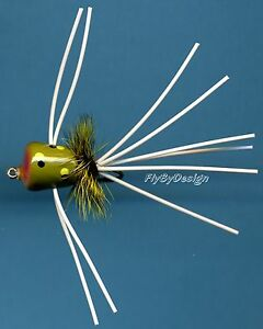 Panfish-Trout-Bream-Fly-Fishing-Tan-Belly-Frog-Popper-Choice-of-Hook-Size